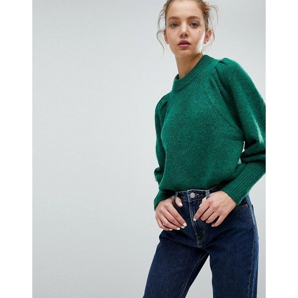 Weekday Mohair Crop Knit Jumper With Shoulder Detail ($69) ❤ liked on Polyvore featuring tops, sweaters, green, green jumper, cropped jumper, cropped knit sweater, knit top and green crop top