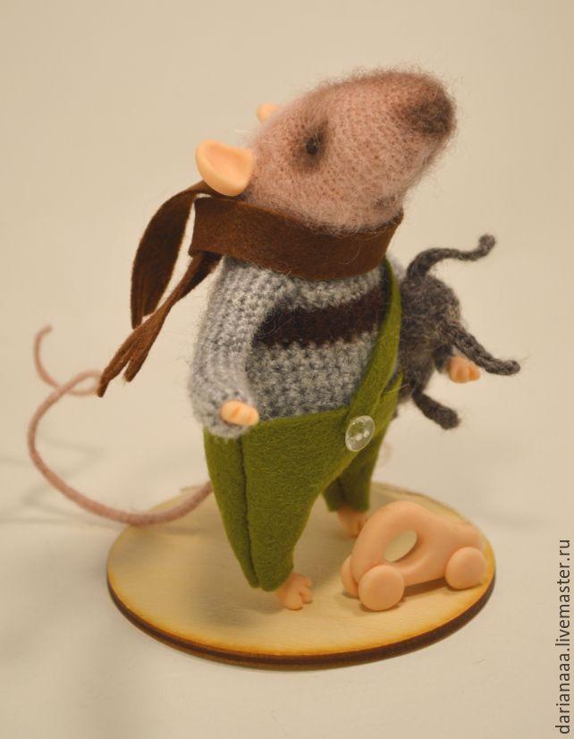 Купить миник-мышонок - бежевый, мышка, мышонок, вязаная игрушка, сувениры ручной работы