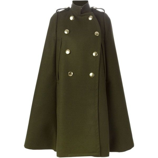 SACAI LUCK Military-Style Cape Coat ($1,467) ❤ liked on Polyvore featuring outerwear, coats, sacai luck, military style wool coat, woolen coat, wool cape coat y military fashion