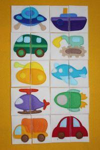 puzzles - quiet book - puzzle, car, vehicles, plane