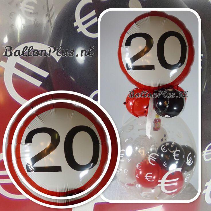 Geld - Euro - € - Cadeau - Kado Ballon - 20 - folie topballon - van BallonPlus.nl