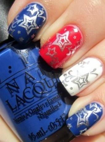 We love these silver nail stamps over patriotic colors, via Pinterest/doridavis.com: July Nails, Nails Art Ideas, Blue Color, Nails Design, Silver Nails, Red White Blue, 4Th Of July, Nails Ideas, Patriots Nails