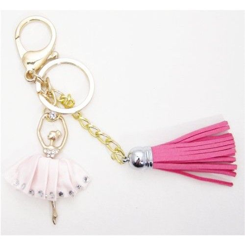 Handmade Ballerina Pink Dress Rhinestone Keychain and Purse Hanger  Looking out to buy Handmade Ballerina Pink Dress Rhinestone Keychain and Purse Hanger? Check this out.This is a Handmade Beautiful Large Grade A Rhinestone Key chain and Purse Hanger.