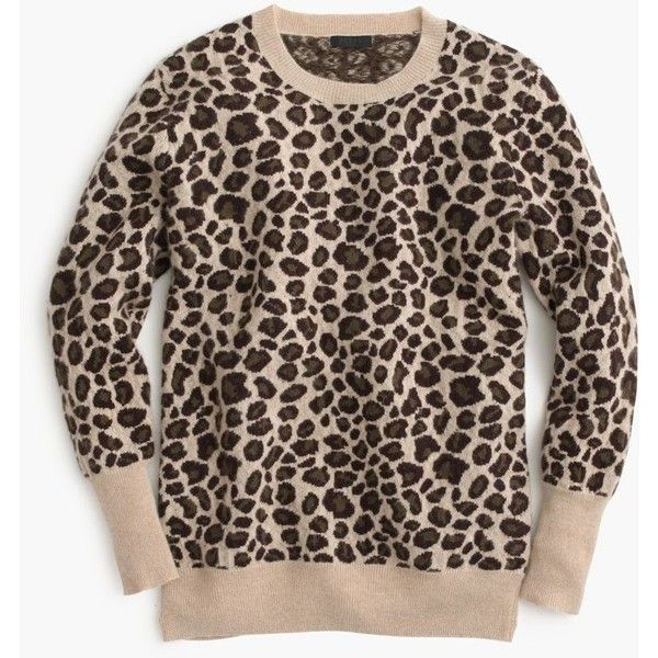 J.Crew Collection Cashmere Leopard Sweater (€355) ❤ liked on Polyvore featuring tops, sweaters, brown cashmere sweater, dot sweater, sweater pullover, j crew sweaters and polka dot sweater