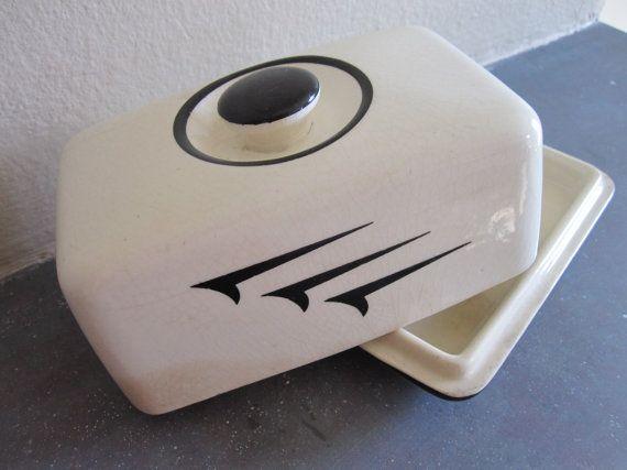 Retro Ceramic Butter Dish by MyUrbanCabin on Etsy