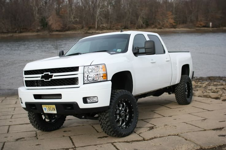 White lifted Silverado