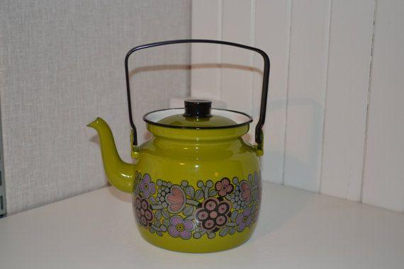 Vintage Finel Arabia green Primavera Enamel Kettle Teapot 60s large!