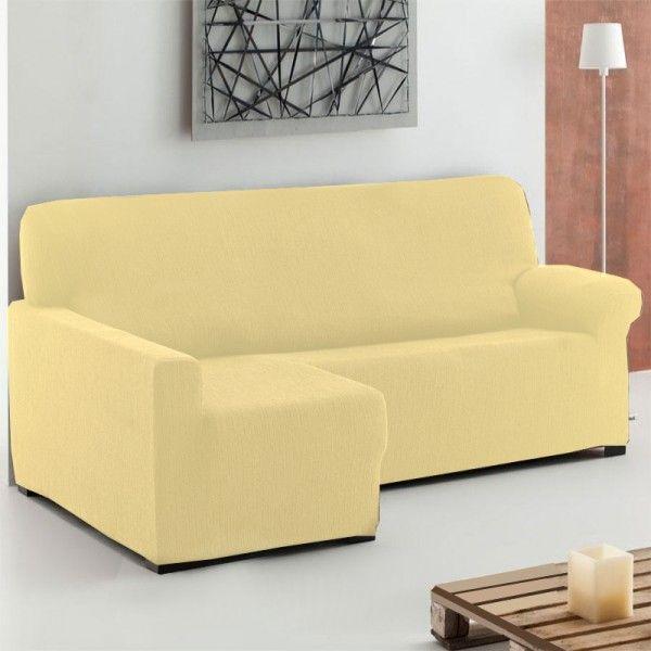 Fundas Sofá Chaise Longue color Beige modelo Túnez, fundas elásticas para sofás chaise longue de 240 a 280 cm con brazo derecho y izquierdo.