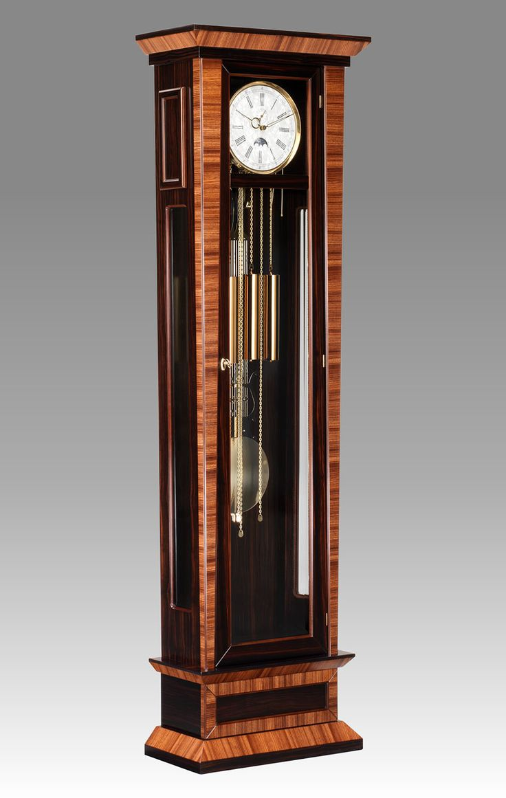 Grandfather clock Art.564/1 Ebony and zebrano with 1 drawer