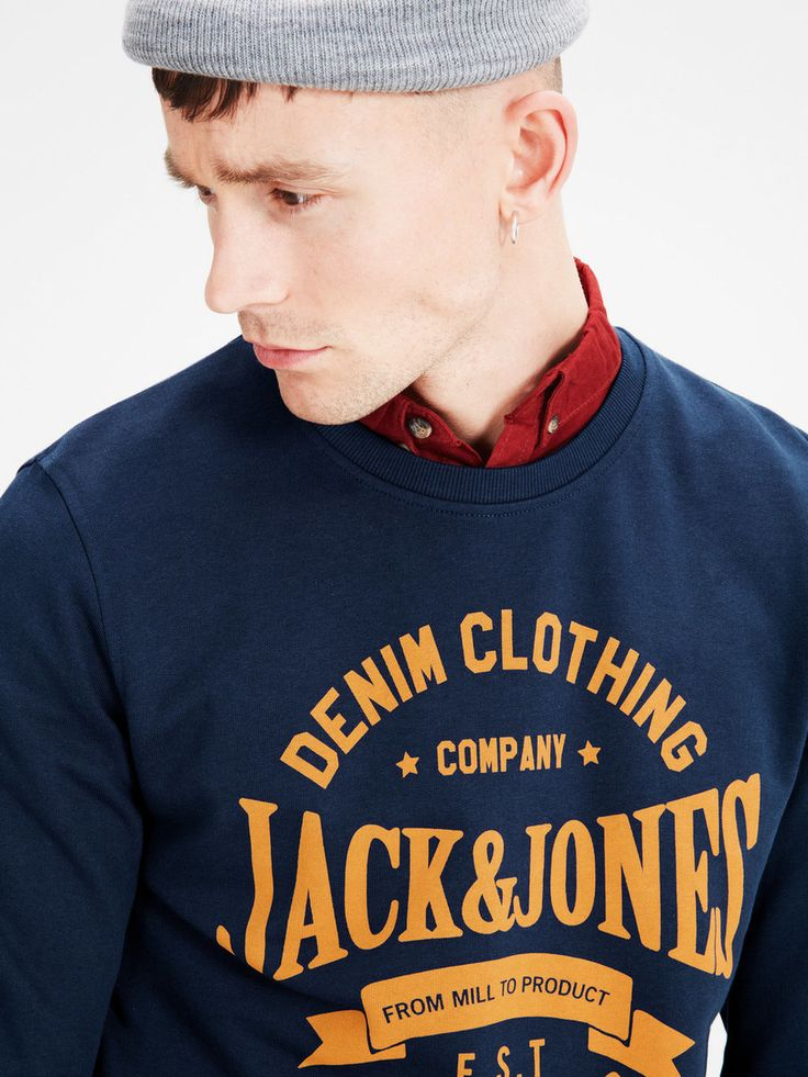 Can't fail sweatshirt gift: casual sweatshirt with chest print, slim fit, 100% cotton | JACK & JONES