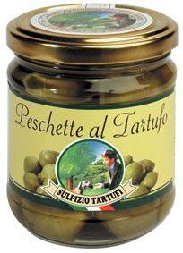 Pesche verdi nane al tartufo in vasetti da 200gr, 500gr e 1,6 Kg. Indicate per la preparazione di antipasti insoliti e sfiziosi. http://store.sulpiziotartufi.it/it/specialita-sulpizio/1350-peschette-al-tartufo.html