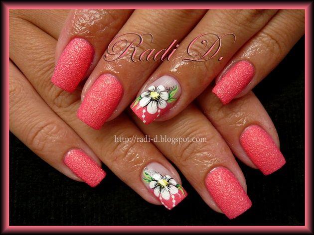 Strawberry Sand and Daisies by RadiD - Nail Art Gallery nailartgallery.nailsmag.com by Nails Magazine www.nailsmag.com #nailart
