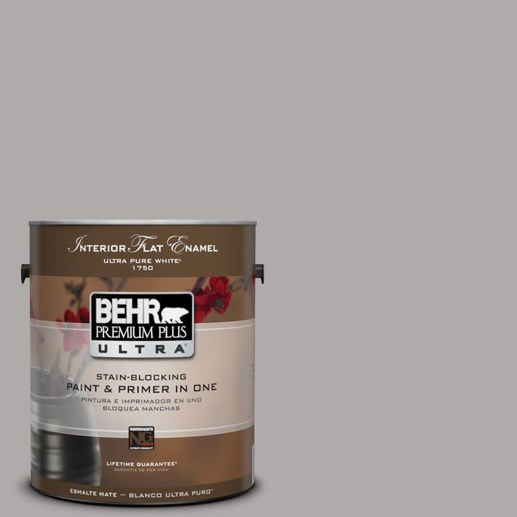 Behr premium plus ultra 1 gal ppu18 14 cathedral gray flat matte interior paint behr living for Behr premium plus interior flat