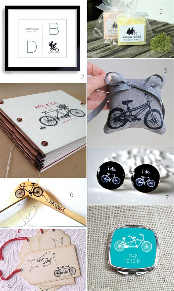 bicycle themed wedding ideas - cuff links guest book and more