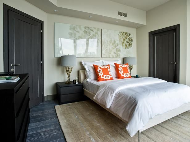 The guest bedroom from the HGTV Urban Oasis 2012.: Bedrooms Mi Mom, Living Rooms, Guest Bedrooms, Urban Oasis, Colors Design, Colors Schemes, Oasis 2012, Bedrooms Orange, Bedrooms With Black Furniture