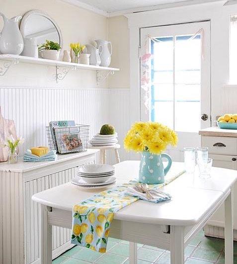 Quaint country kitchen i love all the white with pretty for Quaint kitchen designs