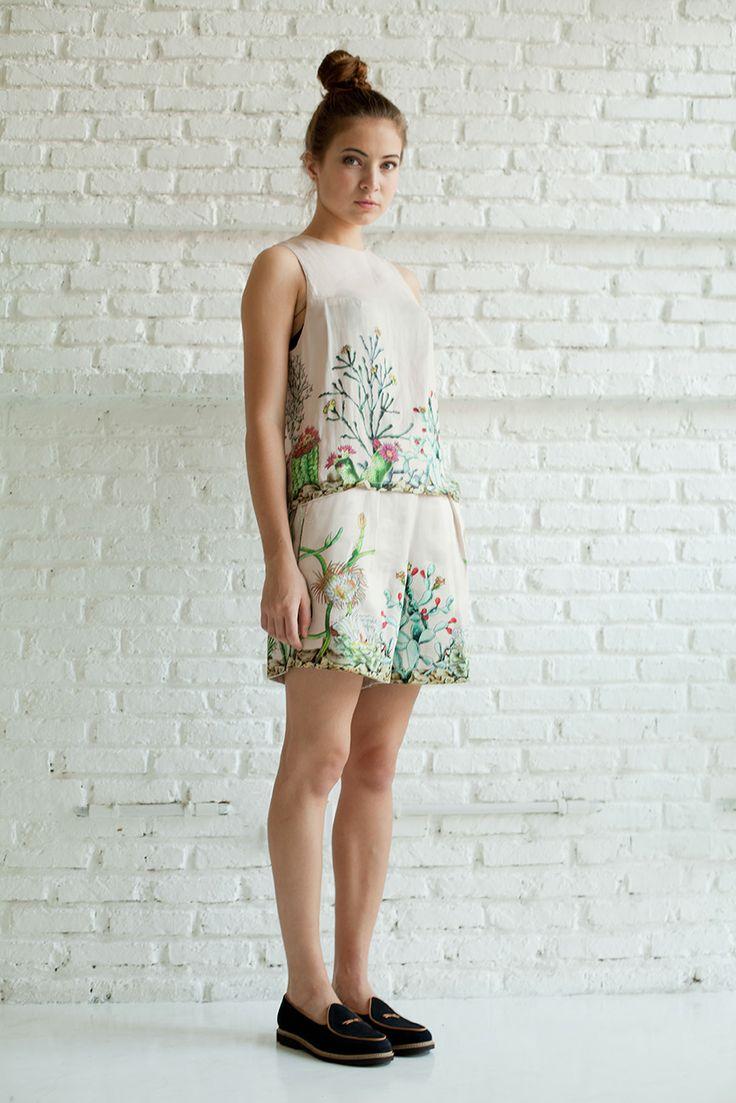 ENSEMBLE Seventh | 2013  Cacti Sleeveless Blouse and shorts