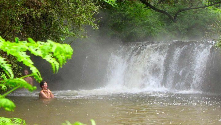 Kerosene Creek thermal spring waterfall