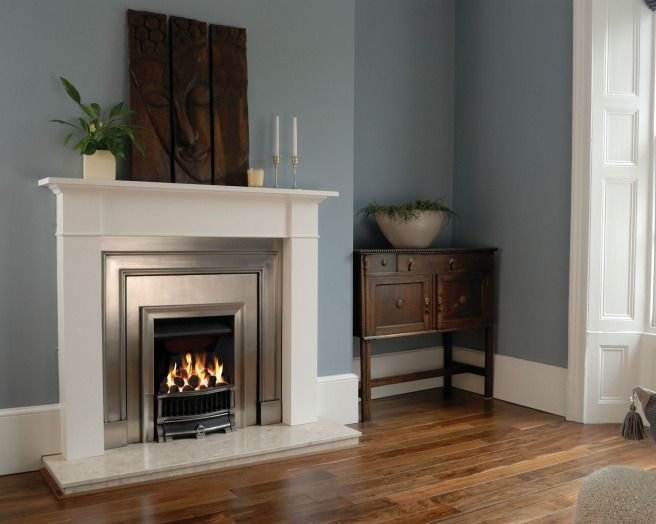 photo of contemporary sophisticated traditional blue white gazco stovax living room sitting room with gas fire fireplace period features woo...