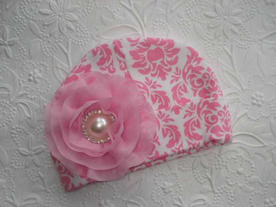Pink Damask Infant Baby Girl Beanie Hat with by MyLolliflopsLLC, $9.99