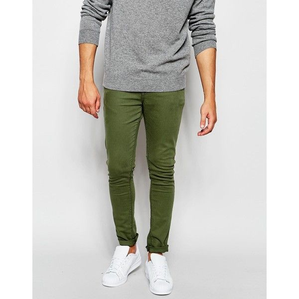 ASOS Super Skinny Jeans In Green (15230 IQD) ❤ liked on Polyvore featuring men's fashion, men's clothing, men's jeans, green, mens green skinny jeans, mens green jeans, mens skinny fit jeans, mens super skinny jeans and tall mens jeans