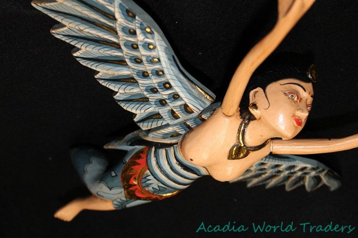 Flying Winged Dewi Sri Goddess Mobile Spirit Chaser Carved Wood ...