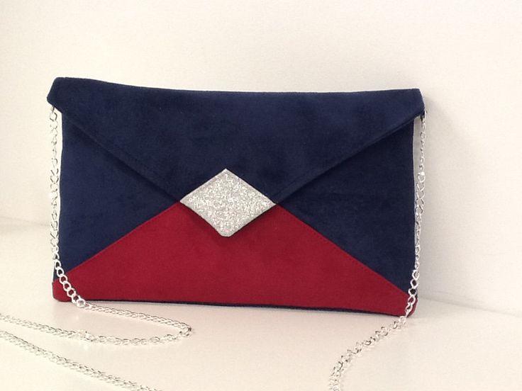 sac pochette mariage bleu marine rose fushia su dine. Black Bedroom Furniture Sets. Home Design Ideas