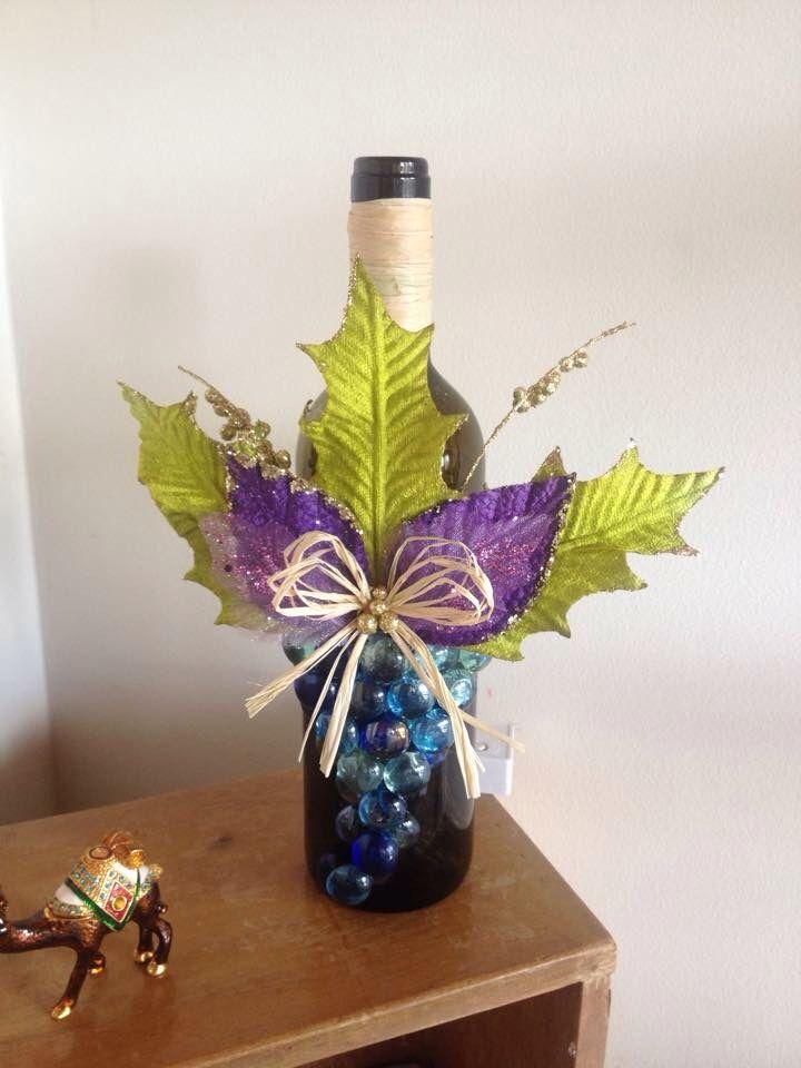 Botella de Vino decorada el iluminada                                                                                                                                                      Más