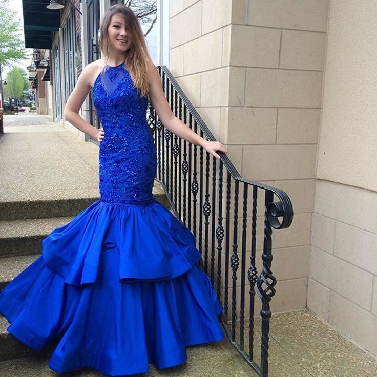 Royal Blue Mermaid Prom Dress Women Formal Dresses Satin Evening Party Gonws With Beaded Bodice