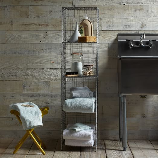 """Wire Mesh Standing Shelving Rack. Two shelves, 14"""" wide each, or one 28"""" shelf, 14-16"""" deep… could we make this ourselves?"""