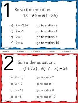 FREE SOLVING MULTI-STEP EQUATIONS STATIONS MAZE ACTIVITY - TeachersPayTeachers.com