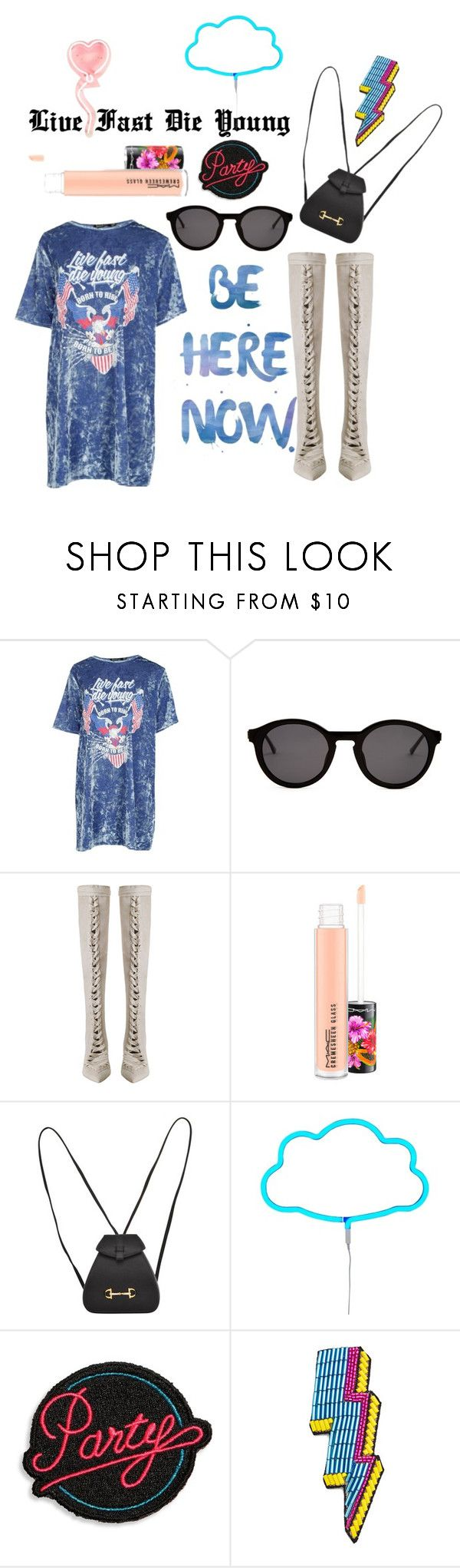 """""""Live Fast Die Young"""" by agsabins ❤ liked on Polyvore featuring Boohoo, Thierry Lasry, Zimmermann, MAC Cosmetics, Gucci, A Little Lovely Company, Marc Jacobs and Happy Embellishments"""