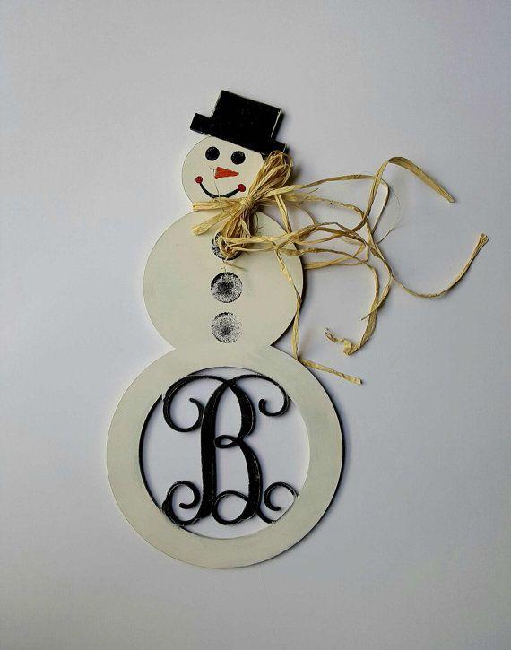 Monogrammed Snowman Door Hanger Wood Snowman Door by SteffiChelles