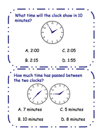 Here's a set of 32 question cards on elapsed time. Available from ProTeacher, you must login to download. (Membership is free.)