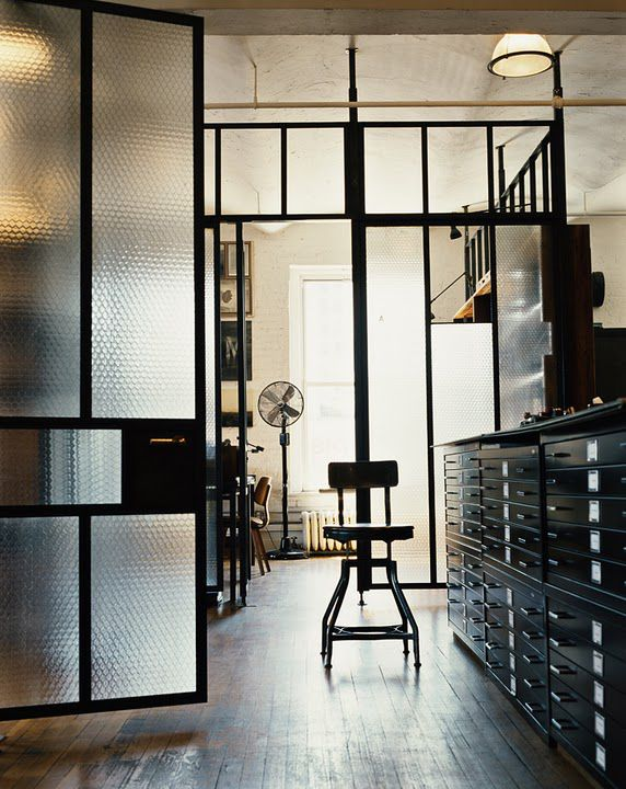 industrial lamp / old glass / industrial cabinet / black frame / wood floor = perfect