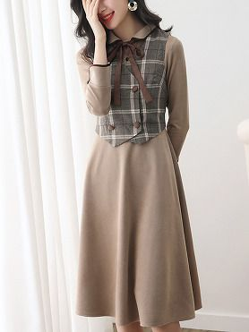 21db3fa9dbf Vintage Stitching Plaid Turn-Down Collar Fit   Flare Dress
