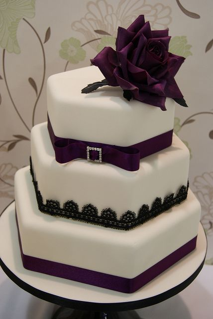 3 Tier Hexagon Wedding Cake by Cakes by Occasion, via Flickr