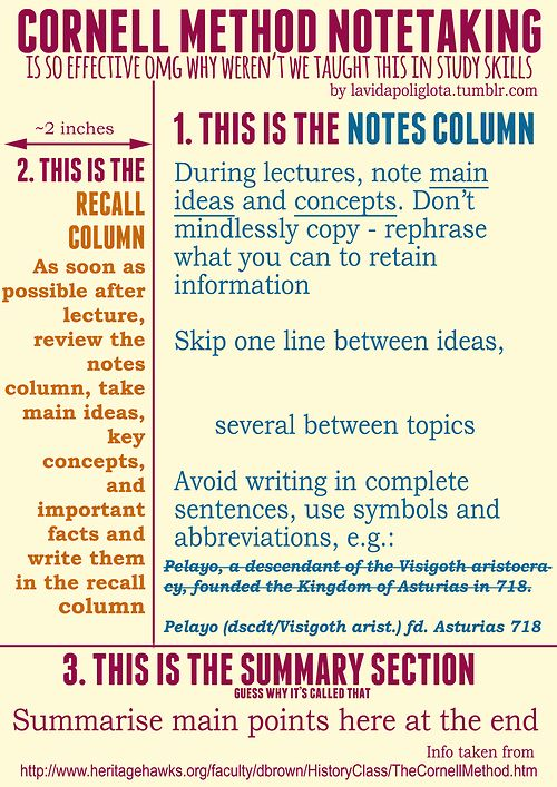 Some people find the Cornell Note taking method handy for revising - it takes a bit of getting used to but can really help you remember the main points