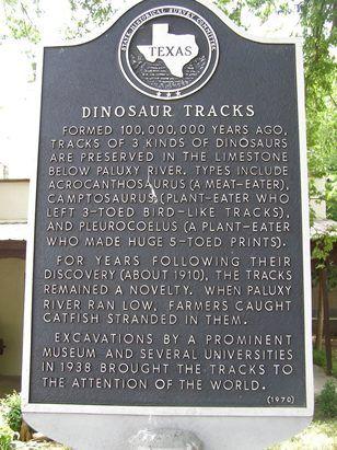 Glen Rose TX - Dinosaur Tracks Historical Marker