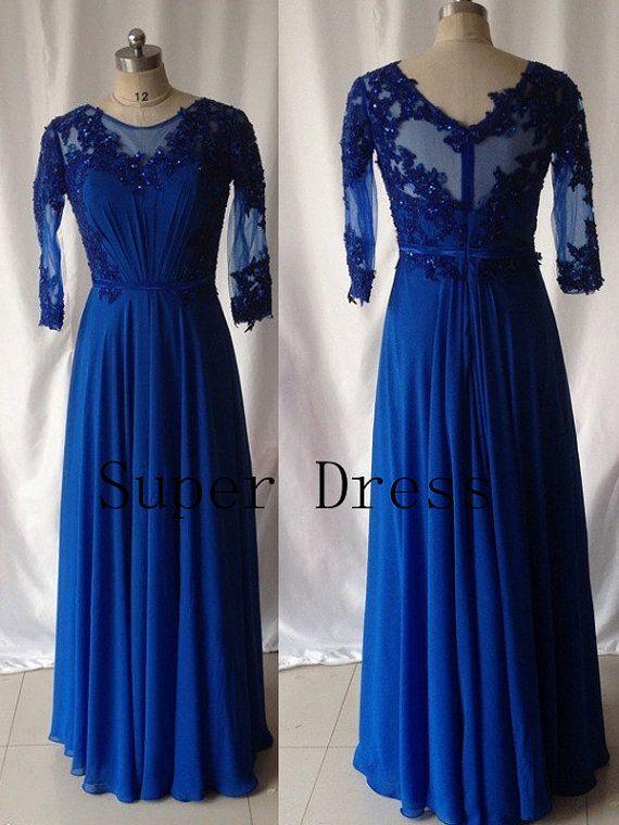 Royal blue plus size prom dress long sleeve prom dresses for Royal blue plus size wedding dresses