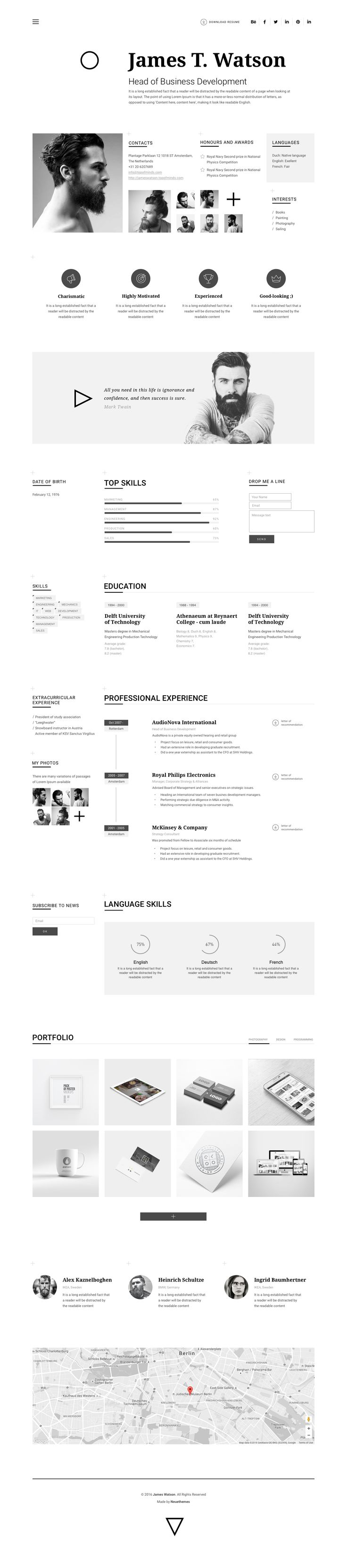 Watson Minimal Resume for Sketch by neuethemes on @creativemarket