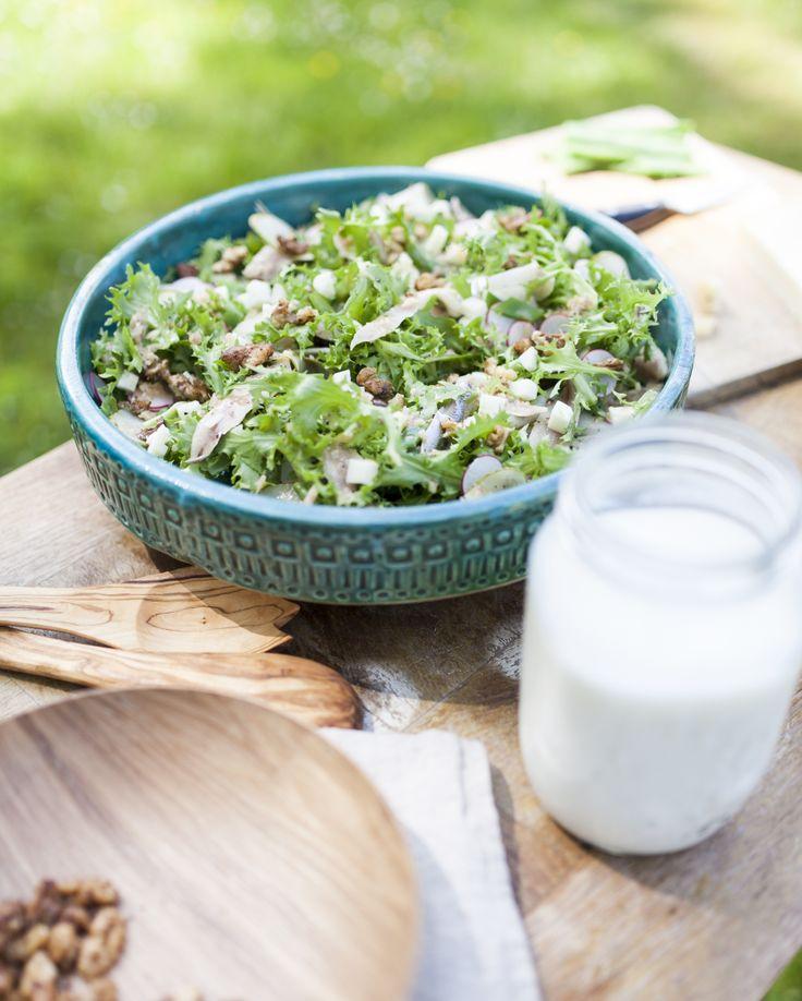 Recept salade van krulandijvie met west-vlaamse gerookte sprot, hoeveschapenkaas…