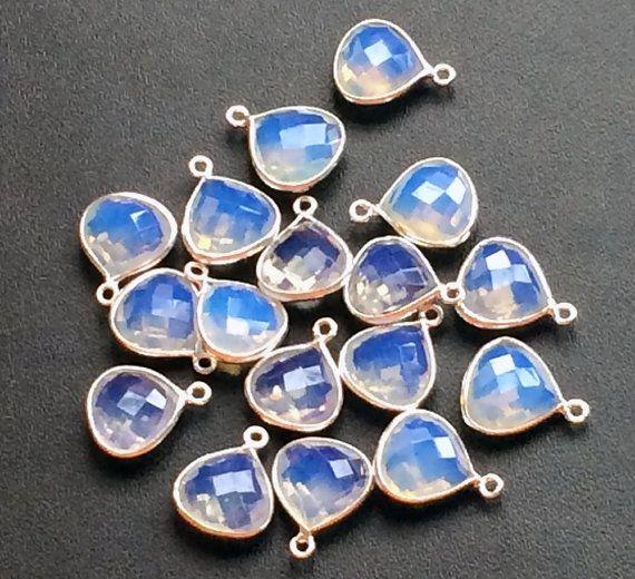 4 Pcs Opalite Connectors  Blue Fire Opalite by gemsforjewels