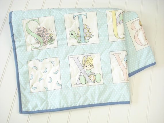 Vintage Baby Blanket Baby Quilt Precious Moments by OnceUponADaizy