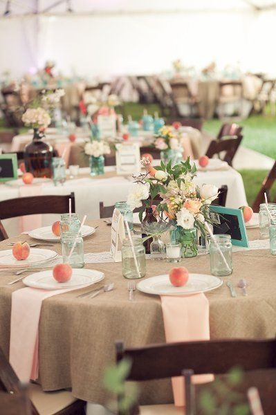 Burlap linens, mason jars & peaches on every plate. We're absolutely in love with this tablescape! {The Flower Diva, INC}