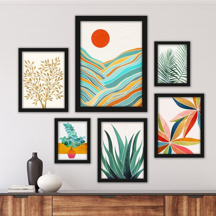 Tropical 6 Piece Framed Graphic Art Print Set Allmodern Art Print Set Framed Wall Art Picture Frame Gallery
