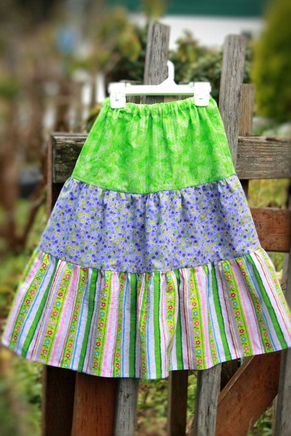 Girls Size 6 Tiered Skirt Bright Green and by KreatedByKimmie