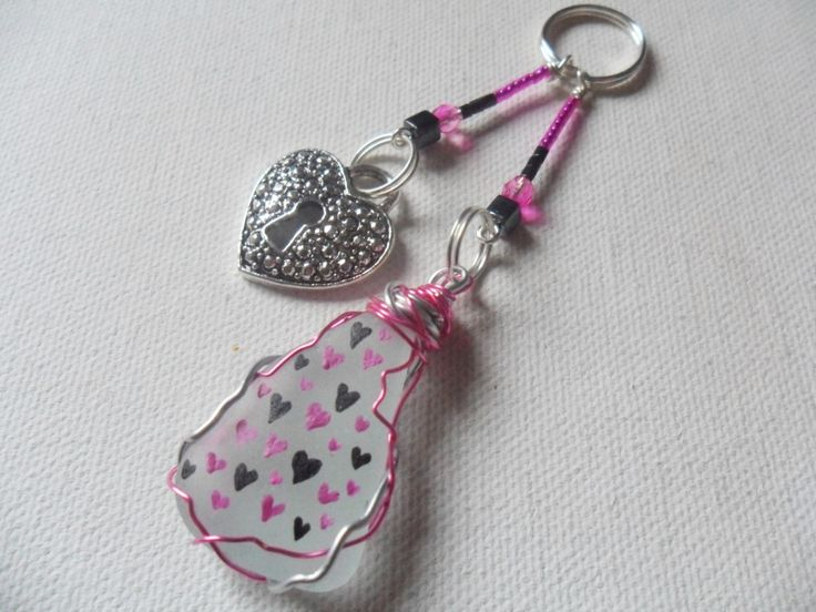 Pink and black sparkle hearts sea glass and bead hand painted bag charm - Zipper pull by ShePaintsSeaglass on Etsy