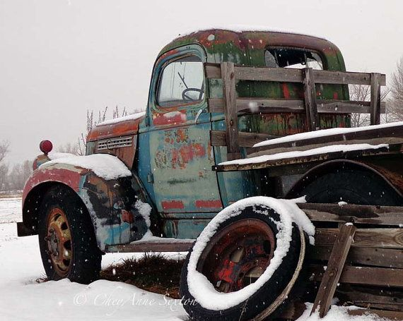 Old Broken Down Chevy Pickup Winter Antique by NewMexicoMtnGirl, $35.00