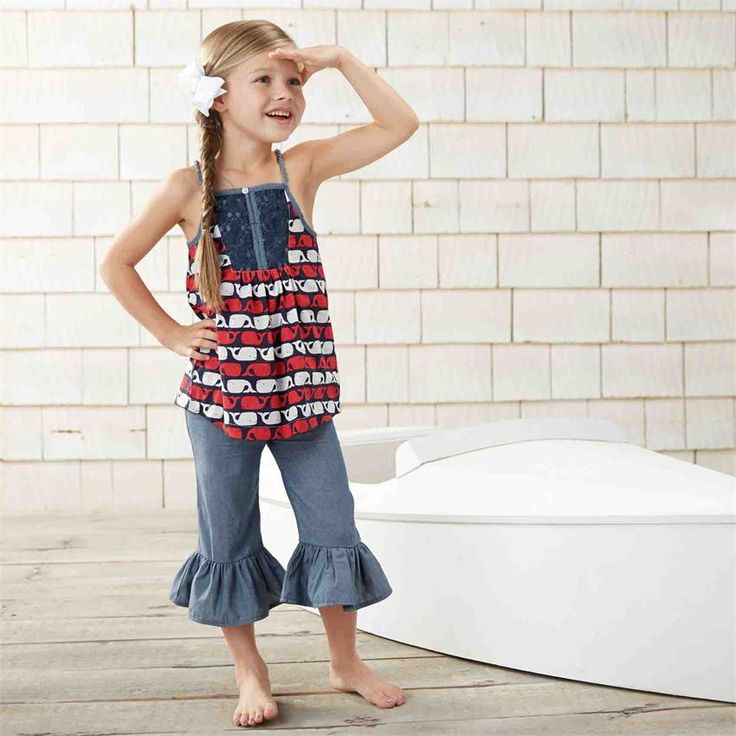 2-piece set. Cotton print racerback tank with soft rope straps and crochet detail comes with ruffled hem chambray capri pants. #MudPieGift